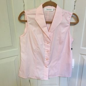 Calvin Klein | Pink Sleeveless Button Down Blouse
